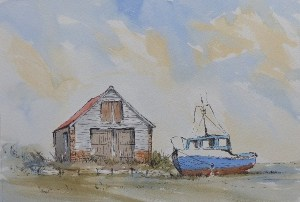 pen and wash painting of a boat at thornham