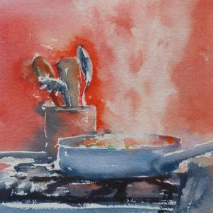 Watercolour painting of cooking on a stove