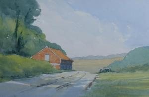 Demonstration watercolour painting of Old Barn in Norfolk