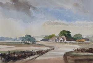 watercolour painting of barns in kent