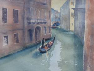 watercolour painting of venice canal