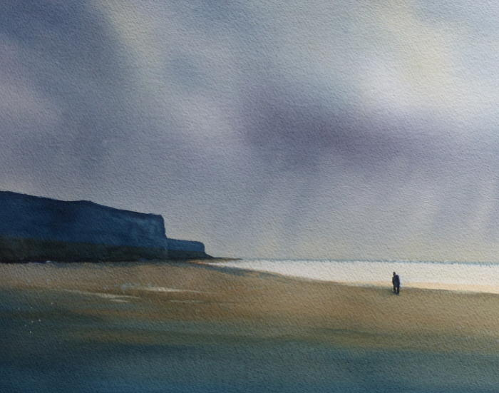 Watercolour painting of the sky and beach near Hunstanton cliffs
