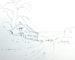 ink sketch of old Norfolk barn