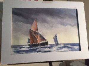 Thames sailing barge watercolour painting