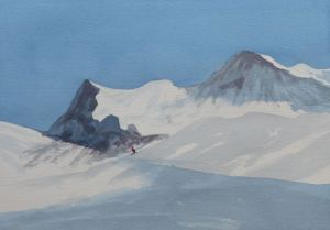 watercolour painting of the Eiger, Switzerland