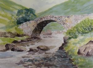 Painting of river Esk, Cumbria