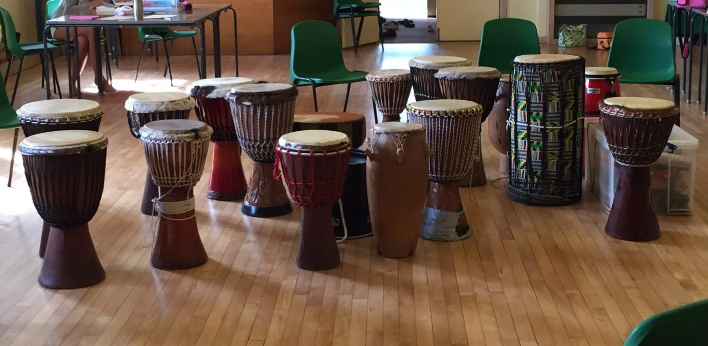 Lots of Djembe drums ready to play