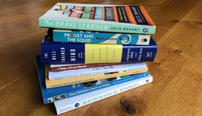 A pile of recent books about home education