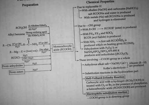 Flowchart for the chemical reactions of mono carboxylic acid