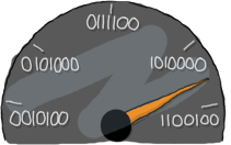 Speedometer with values in binary