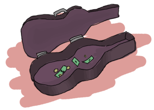 a guitar case with some money inside it