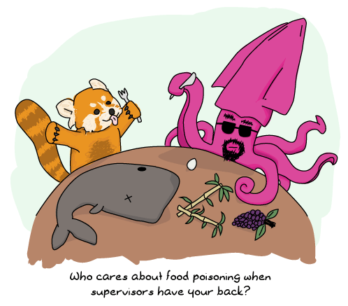 A red panda and a squid sharing a meal (sperm whale, bamboo, eggs and grapes