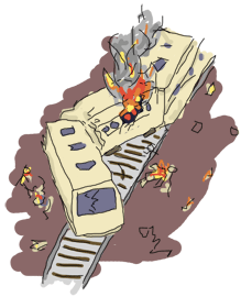 A trainwreck with 3 wagons, a fire and flying debris