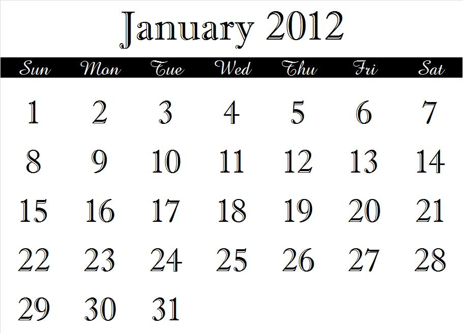 ~ 2012 Calendar Months (1/6)
