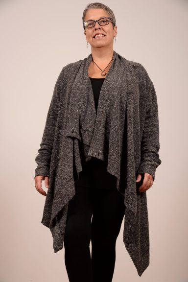 Flax brand Wrap It Up Cardigan has a single button on each shoulder