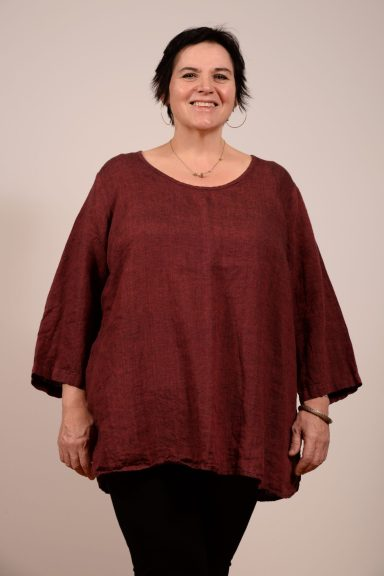 Flax Soft Tunic, 100% linen. Scoop neck and three-quarter sleeves
