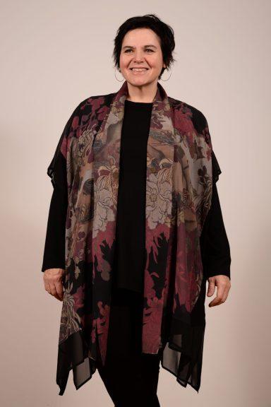 Dressori brand Patchwork Shawl Topper is 100% silk georgette