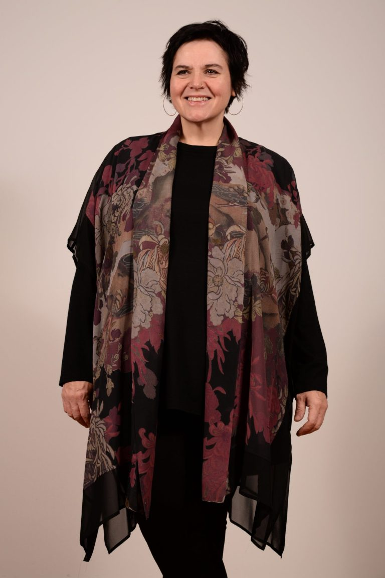 Dressori brand Patchwork Shawl Topper is 100% silk georgette