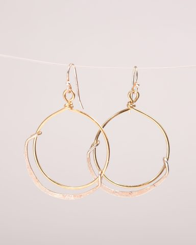 Kinship earrings -e formed brass and stamped sterling silver hoop