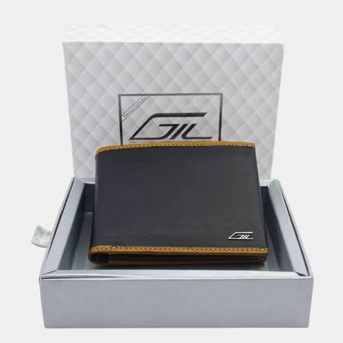 Men's Bi-fold Leather Wallet, Tornado Leather, Black
