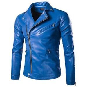 Men's Blue Motorcycle Leather Jacket