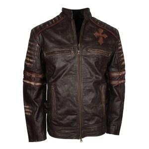 Men's Brown Christ Embellished Designer Leather Jacket