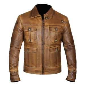 Men's Basic Brunette Leather Jacket