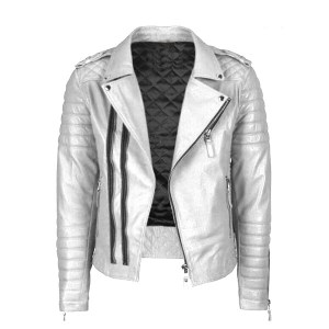 Men's Casual White Leather Jacket with Black Strips