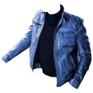 Men's Blue Biker Vintage Leather Jacket