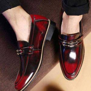 Handmade Men's Red Leather Loafers Leather Shoes