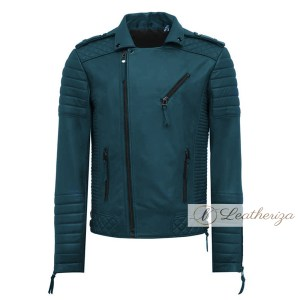 Aegean Blue Biker Leather Jacket For Men