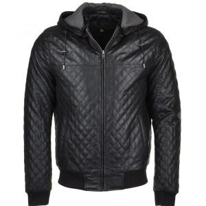Men's Basic Black Hooded Leather Jacket