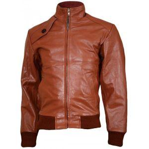 Men's Brown Elegant Leather Bomber Jacket