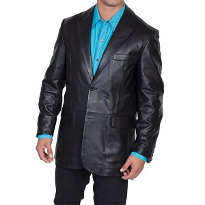 Black Leather Blazer for Men