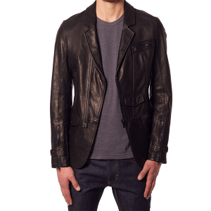 Browned Leather Blazer Coat for Men