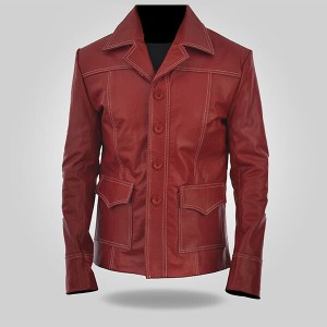 Cherry - Men's Red Leather Coat