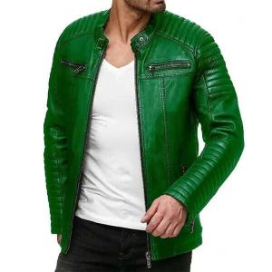 Jungle Green Men Leather Jacket