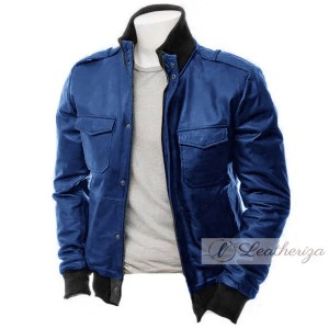 Berry Blue Modish Bomber Leather Jacket For Men