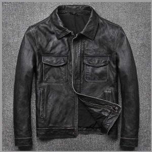 Vintage Black Motorcycle Style Slim Fit Real Leather Biker Jacket