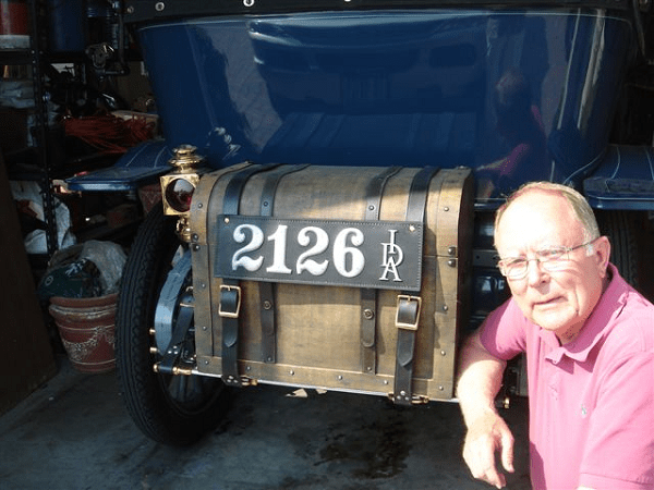 """We are most pleased with the leather plate on our 1911 Hudson. In Idaho, our state did not issue plates until 1913, so this is most appropriate and looks fantastic. We are very proud to have this leather license plate on our car."" -- Ron & Rena Thurber"