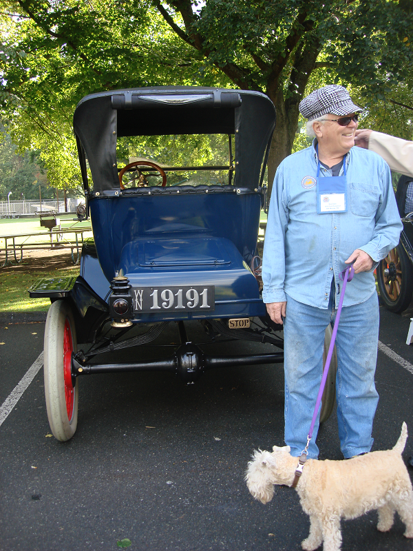 """Buffy and I think the new plate looks super on our 1915 Ford Model T. The leather plate is the finishing touch on this restoration!"" -- Bob Allen with Buffy"