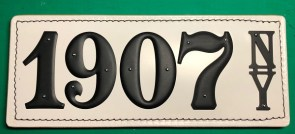 Example of NY State Black on White Leather License Plate.