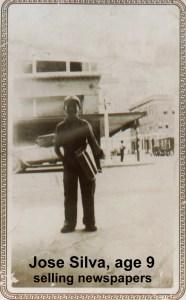 Jose Silva selling newspapers at age nine