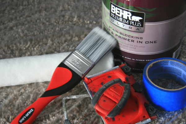 DIY mountain mural paint supplies.