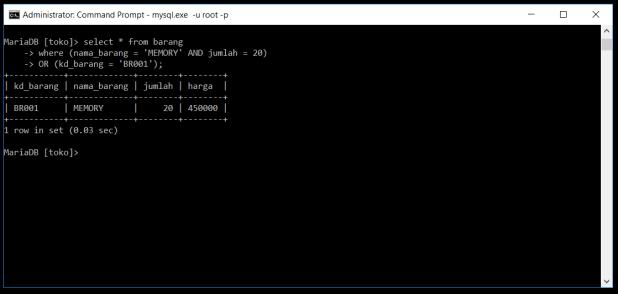 Kondisi AND dan OR Di Database MySQL