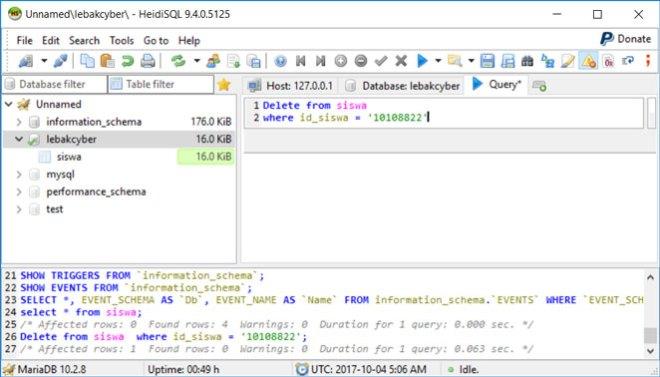 Perintah Delete Data Di Database MariaDB