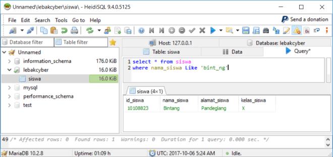 Perintah Like Di Database MariaDB