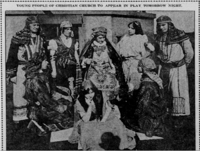 Figure 2: Scene from Naaman the Leper. A play written by Princess Rahme Haidar. The Sunday Oregonian, October 24,1915, Section 5, page 10. [8]