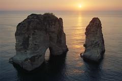 Pigeon Rocks at sunset, Beirut, Lebanon