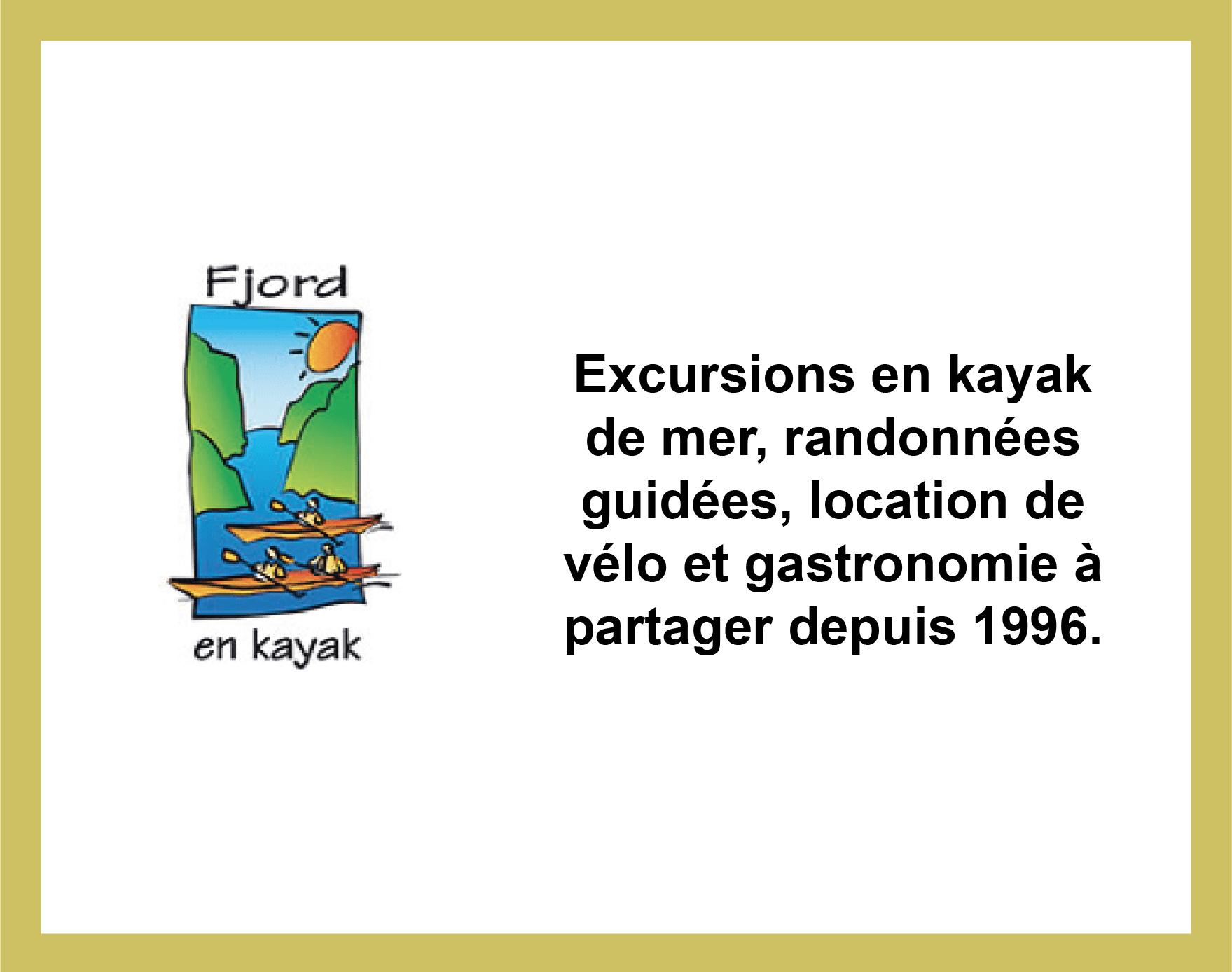 Partenariat avec Fjord en Kayak, activités au Fjord du Saguenay